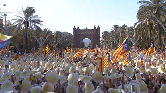 Sant Cugat a la manifestació de l'Onze de Setembre