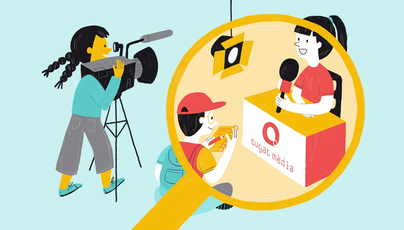Il·lustració sobre l'emissió d'un noticiari
