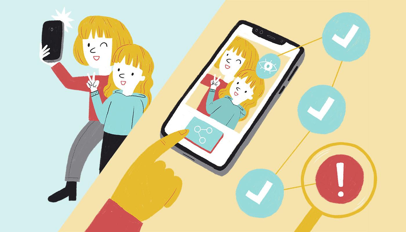 Il·lustració sobre l'ús del mòbil supervisat per adults amb infants